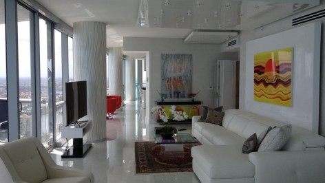 white reflective and column painting